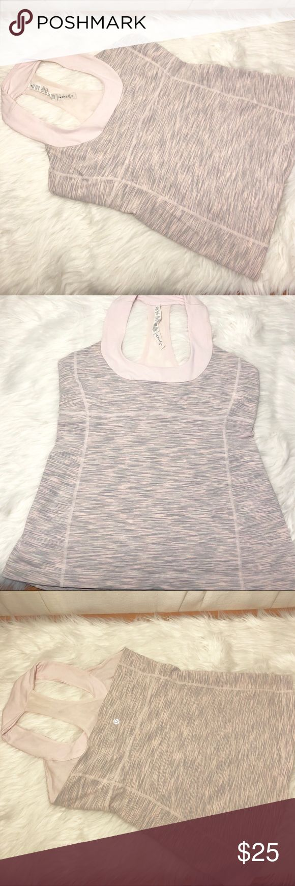 Lululemon scoop neck razorback tank Pink and grey scoop neck razorback tank top. Built in bra (no pads) great condition lululemon athletica Tops Tank Tops