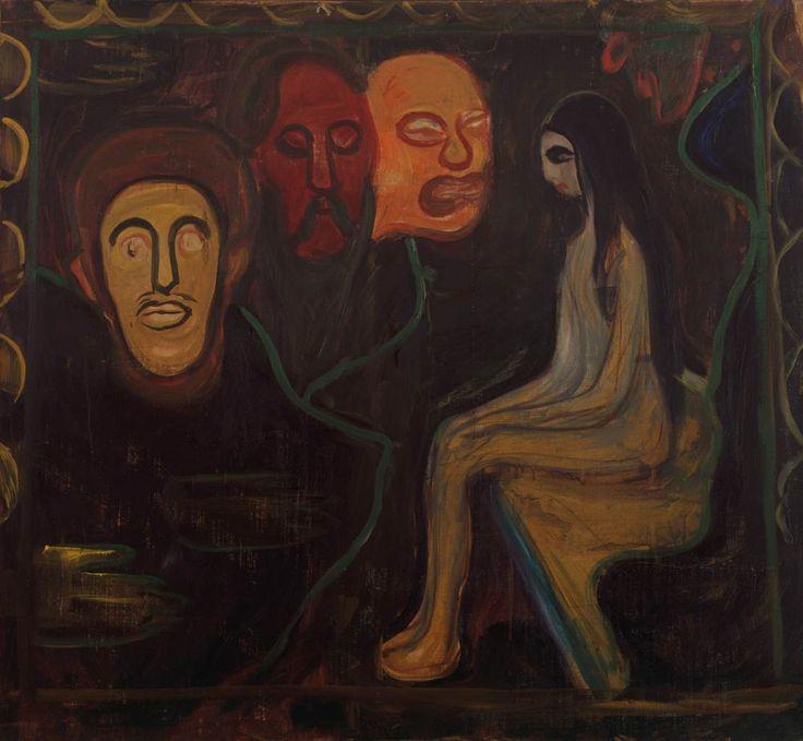 Edvard Munch, Mädchen und drei Männerköpfe
