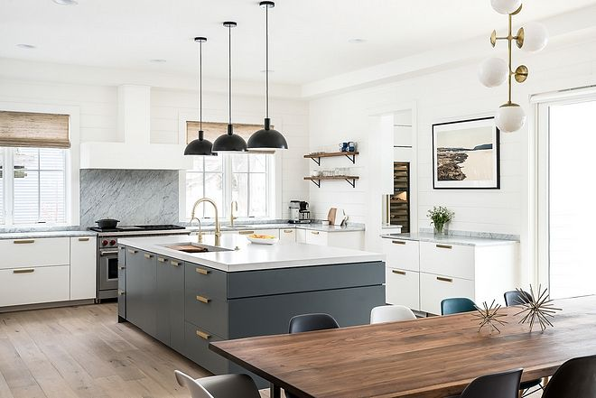White Kitchen With Grey Island Modern Farmhouse Kitchen