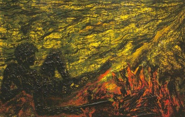 Le feu sur la plage. Miquel Barceló. 1984. 199 x 304 cm. técnica mixta sobre lienzo