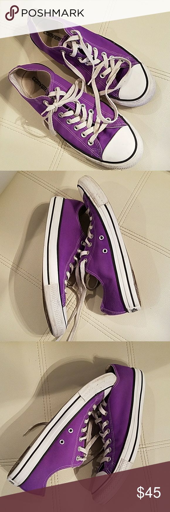 UNISEX ALL STAR CONVERSE Purple Converse,  No discoloration,  original shoe laces, unisex,  size 9 men's, size 11 women's Converse Shoes Athletic Shoes