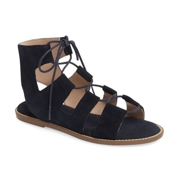 Women's Sole Society 'Cady' Lace-Up Flat Sandal (990 ZAR) ❤ liked on Polyvore featuring shoes, sandals, ink navy suede, flat gladiator sandals, navy blue flat sandals, navy sandals, navy flat sandals and flat shoes