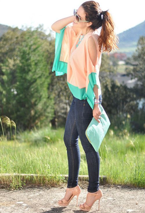 super cuteColors Combos, Fashion, Skinny Jeans, Style, Clothing, Shirt Blouses, Summer Colors, Spring Outfit, Dreams Closets