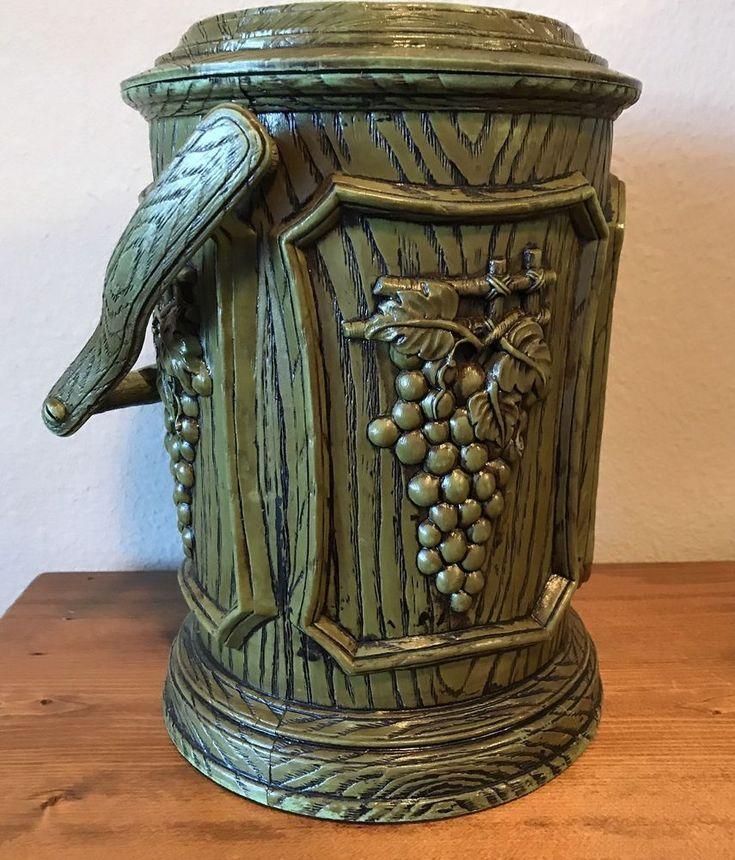 Vtg MCM Green Ice Bucket Wine Cooler Grapes Motif Kitsch Decor Barware