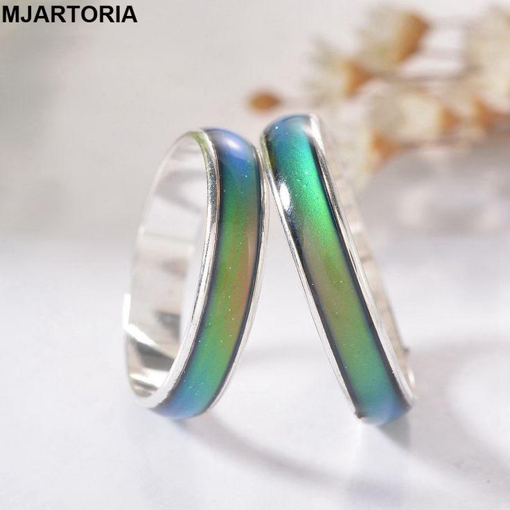 Nowy Mody 12 Kolor Zmiana Mood Rings Temperatury Emotion Uczucie Pierścienie Dla Kobiet/Mężczyzn Biżuterii Jasny Srebrny Tone 1 PC