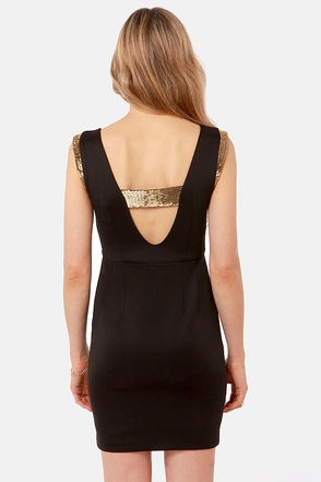little black dress with gold details<3 #sequins #cutouts Get 7% Cash Back http://www.studentrate.com/itp/get-itp-student-deals/lulu-s-Student-Discount--/0