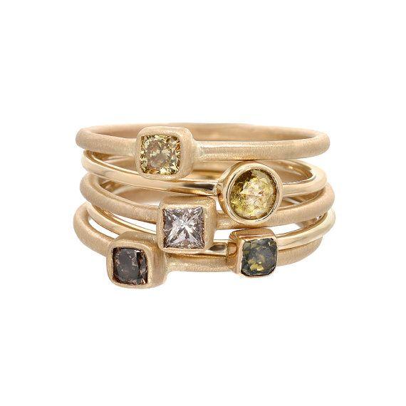 Diamond Ring Engagement Ring Rose Cut Diamond Ring by NIXIN