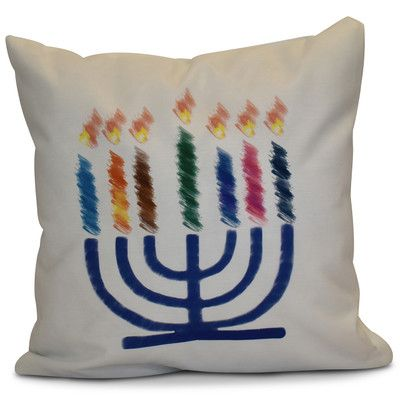 "The Holiday Aisle Hanukkah 2016 Decorative Holiday Geometric Throw Pillow Size: 16"" H x 16"" W x 2"" D, Color: White"