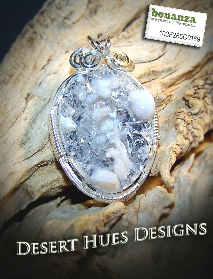 Sparkling Druzy Quartz Crystal Silver Tone Wire Wrap Pendant Crafted from Geode
