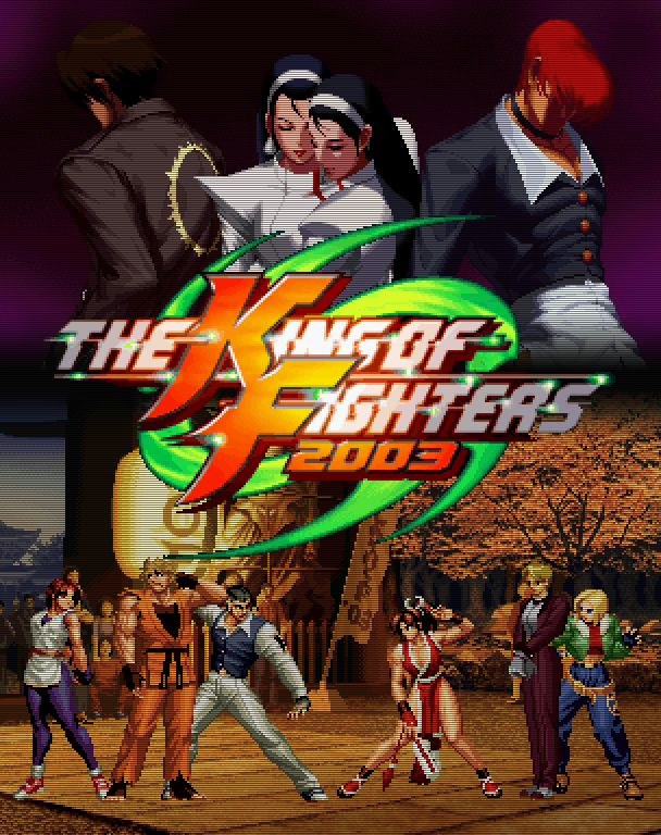 King of Fighters 2003  2003 was the last hurrah of the venerable Neo Geo system. After 14 years in active, well-supported service (which I think may be a record among consoles and certainly arcade hardware), its time was drawing to an end. But not without some great send-offs. And the system's final entry in the King of Fighters series, The King of Fighters 2003, is one of those moments.