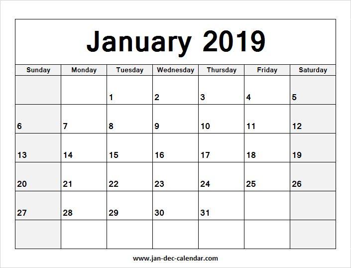Blank Calendar January 2019 | January-December Calendar ...