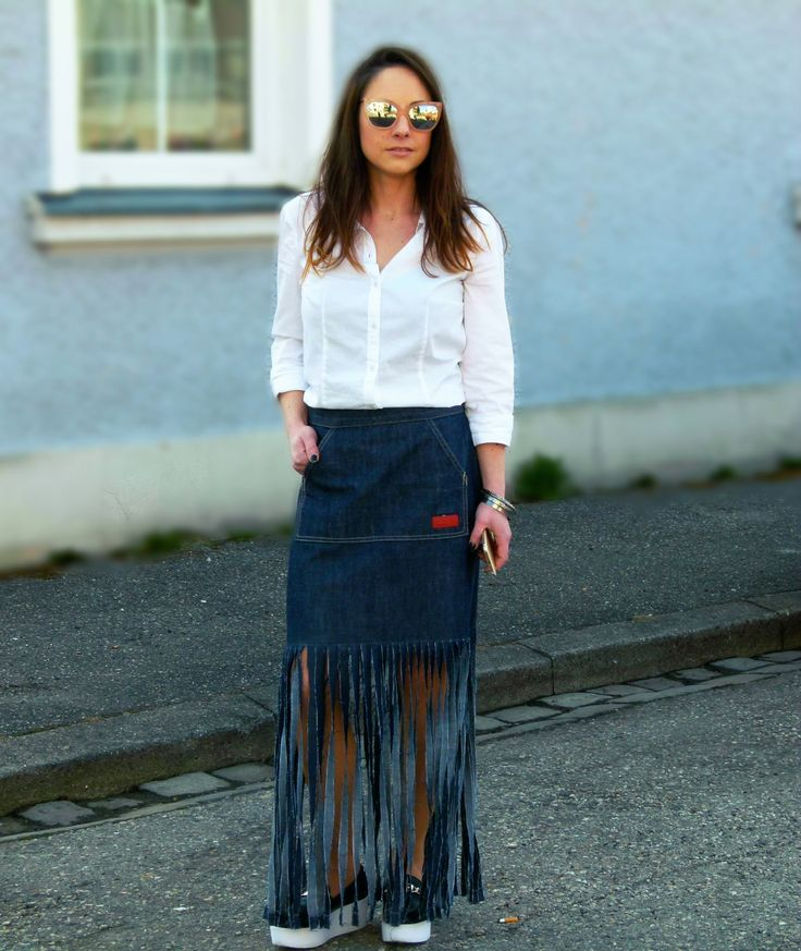 Diy fringe denim skirt