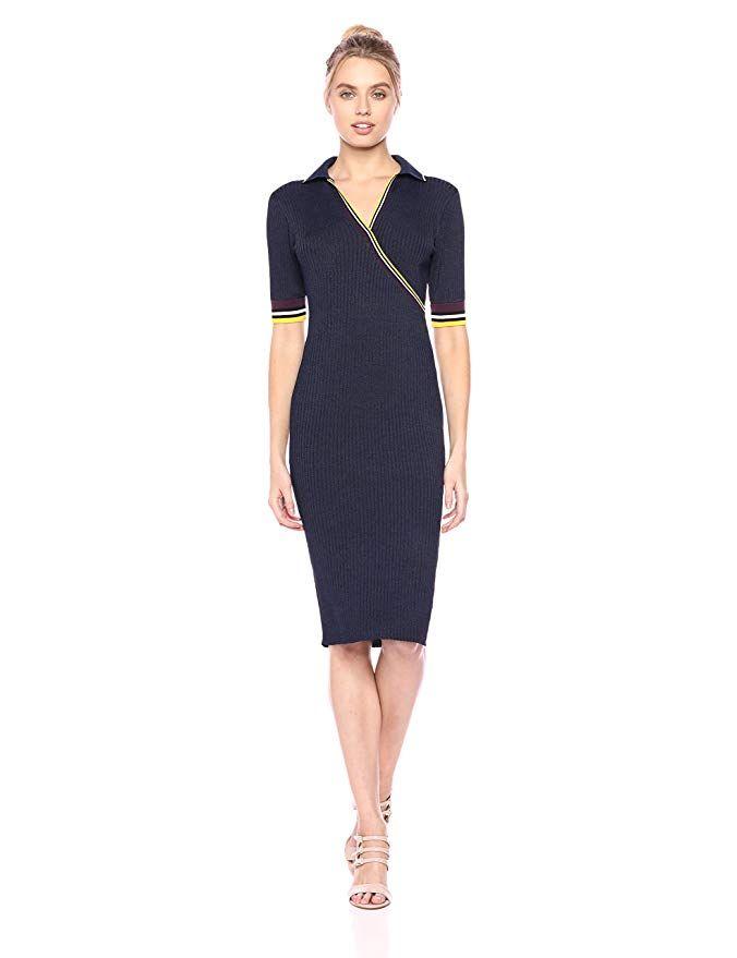 Parker Womens Monty Short Sleeve V-Neck Fitted Midi Knit Dress