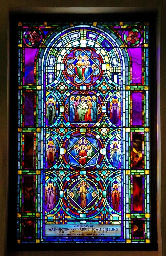 The Ministry of Music stained glass window, by Tiffany, is one of five windows, at the Theodore Parker Church that have been recently restored. roxbury