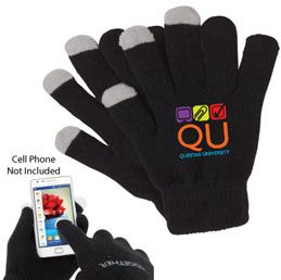 O219BK Touchscreen compatible gloves One size fits most Three finger utility Compatible with most touchscreen phones, tablets and mp3 Available only in Black with grey fingertips