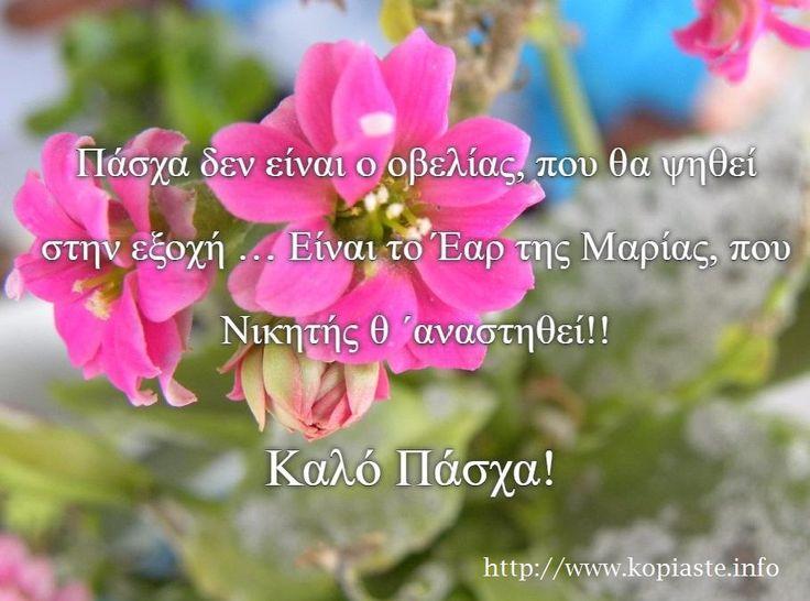 Καλημέρα και Καλό Πάσχα / Good morning and Happy Easter! Πάσχα δεν είναι ο οβελίας, που θα ψηθεί στην εξοχή … Είναι το Έαρ της Μαρίας, που Νικητής ΄αναστηθεί!! #Easter2016 #Πάσχα2016