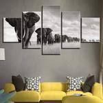 Elephant Canvas Art, Elephant Wall Art, Elephant Group 5 Pieces Canvas Print, Elephant Wall Decor , Elephant Framed Wall Prints
