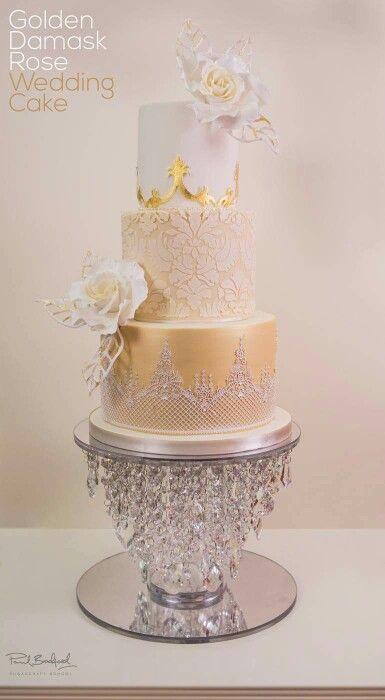 gold damask wedding cake  ~  we ❤ this! moncheribridals.com