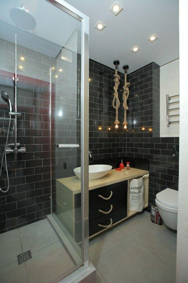 Badezimmer Schwarz Durchsichtige Flächen