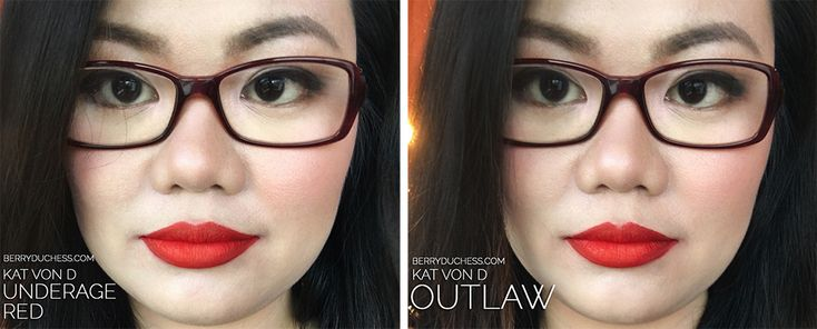Kat Von D Underage Red compared with Outlaw