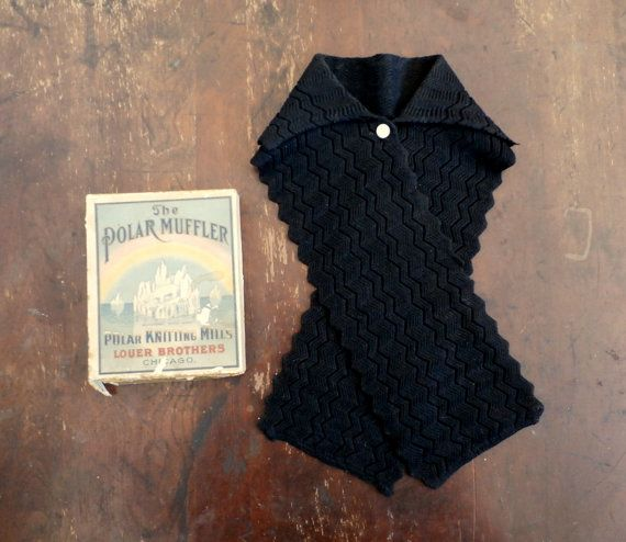 Vintage 1900's Women's Black Knit Muffler | Phoenix Label + Polar Knitting Mills Box