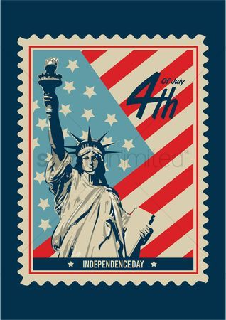 Independence : American independence day postage stamp #independence #usa #holiday #important #july4 #design #creative #drawing #art #graphics #content
