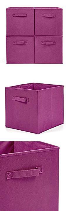 Fabric Storage Box. EZOWare Set Of 4 Foldable Fabric Basket Bins,  Collapsible Storage Cube