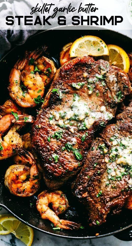 Bratpfanne Knoblauch Butter Steak und Garnelen