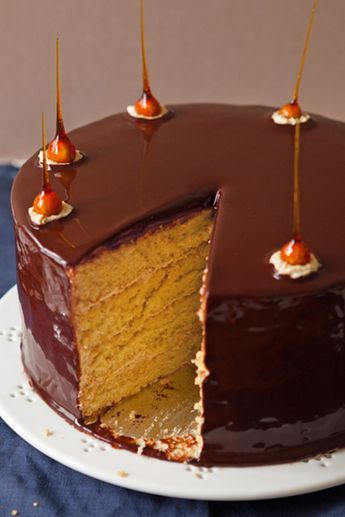 We are in love with Andrew's ultimate indulgence mirror glaze cake from Great British Bake Off
