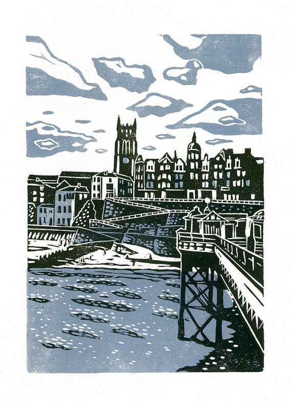 Cromer No.1 two-colour linocut print in light blue and grey