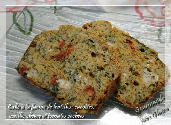 Gourmande sans gluten Cake à la farine de lentilles, carottes, oseille, chèvre