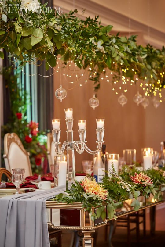 Hanging Greenery Centrepieces, Greenery Floral Canopy, Twinkling Wedding Ideas, Red and Gold Wedding Ideas #greenery #weddingtablesetting #weddingtable