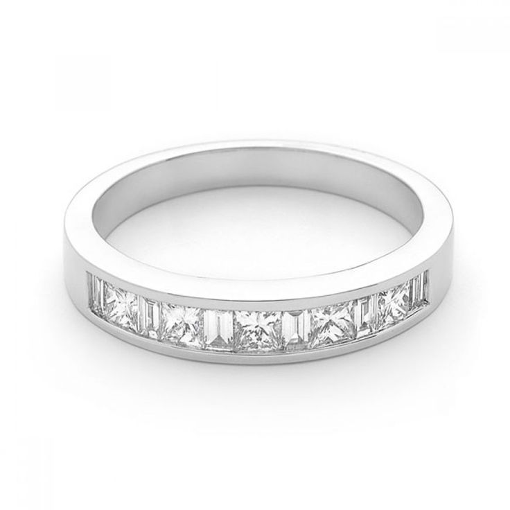 18ct Wg Princess And Baguette Cut Diamond Band