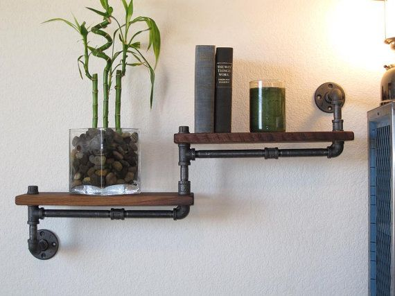 Industrial Plumbing Pipe Shelf Double Walnut by vintagepipedreams, $129.00