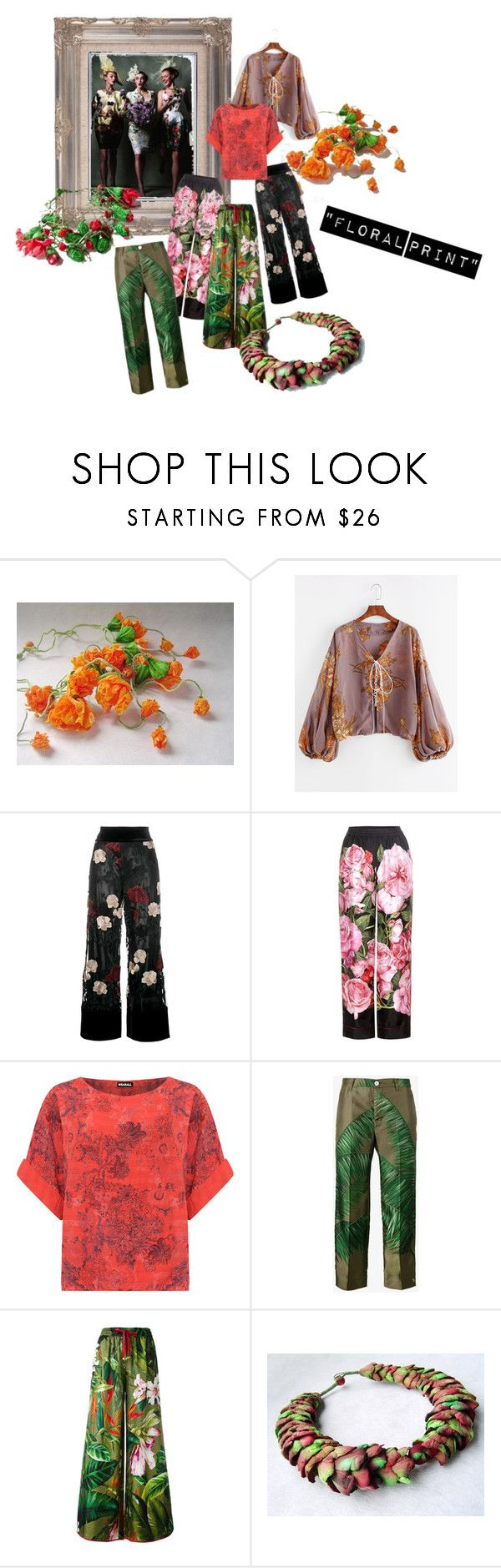 """""""Floral Print"""" by renterodesigns on Polyvore featuring moda, STELLA McCARTNEY, Ganni, Dolce&Gabbana, WearAll, F.R.S For Restless Sleepers, ALMERIA y plus size clothing"""