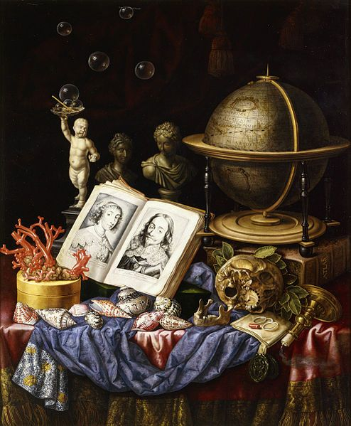 Carstian Luyckx (1623 - c. 1675)  Allegory of Charles I of England and Henrietta of France in a Vanitas Still Life.