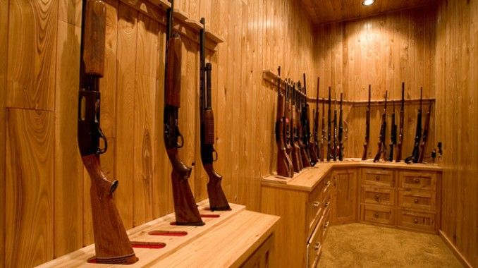Love the idea of a gun room. Need a bigger one with table for cleaning and reloading ammo