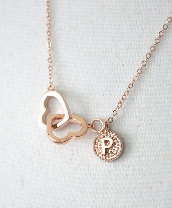 Personalized Rose Gold Double Heart Infinity necklace - simple rose gold filled chain, necklace, forever love, best friends, sister, wife, bridesmaid necklace, rose gold wedding, pink weddings, www.colormemissy.com