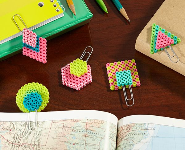 Easy, colorful paperclip bookmarks are fun to make and fun to use for school work and home reading. Change the Perler Bead colors to suit your style!