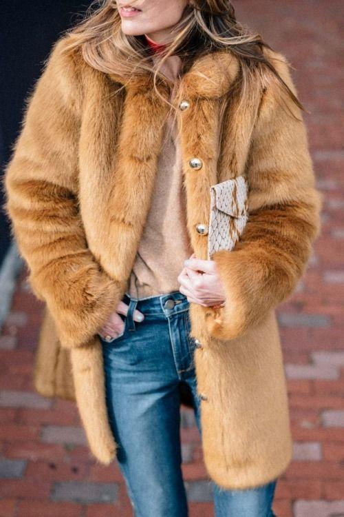 camel fur coat