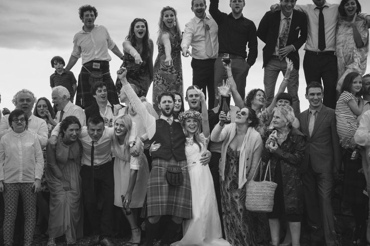 Image by Tandem Photo - Simple But Incredibly Stylish Humanist Wedding At Scottish Coastal Venue Crear With Bride In Bespoke Gown By Flossy & Dossy With Jimmy Choo Heels And A Midsummer Nights Dream Inspired Flower Crown With Groom In Kilt And Bridesmaids In Gowns From Debenhams