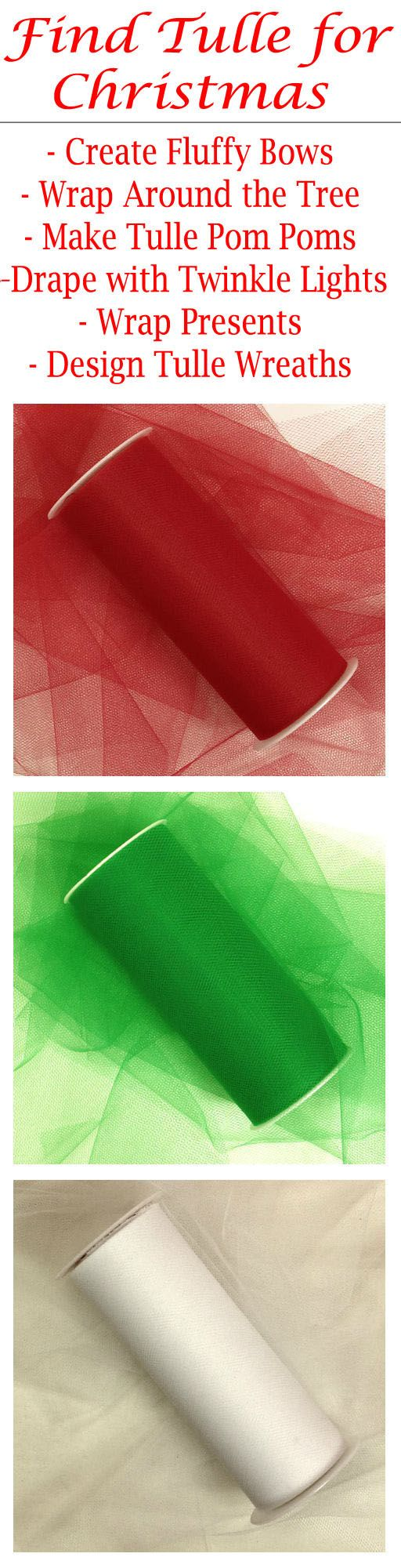 "Shop PaperMart.com for tulle rolls in festive colors for Christmas and all holidays. There are so MANY uses for tulle at the holidays. Use this versatile fabric to wrap gifts or make fluffy bows, use to wrap around the Christmas tree as a colorful garland, make tulle pom poms to hang up for a winder wonderland, make a beautiful backdrop with twinkle lights and tulle, create tulle wreaths for Christmas, and so much more! The tulle rolls are available in 3"", 6"", 12"", and 18"" wide spools…"
