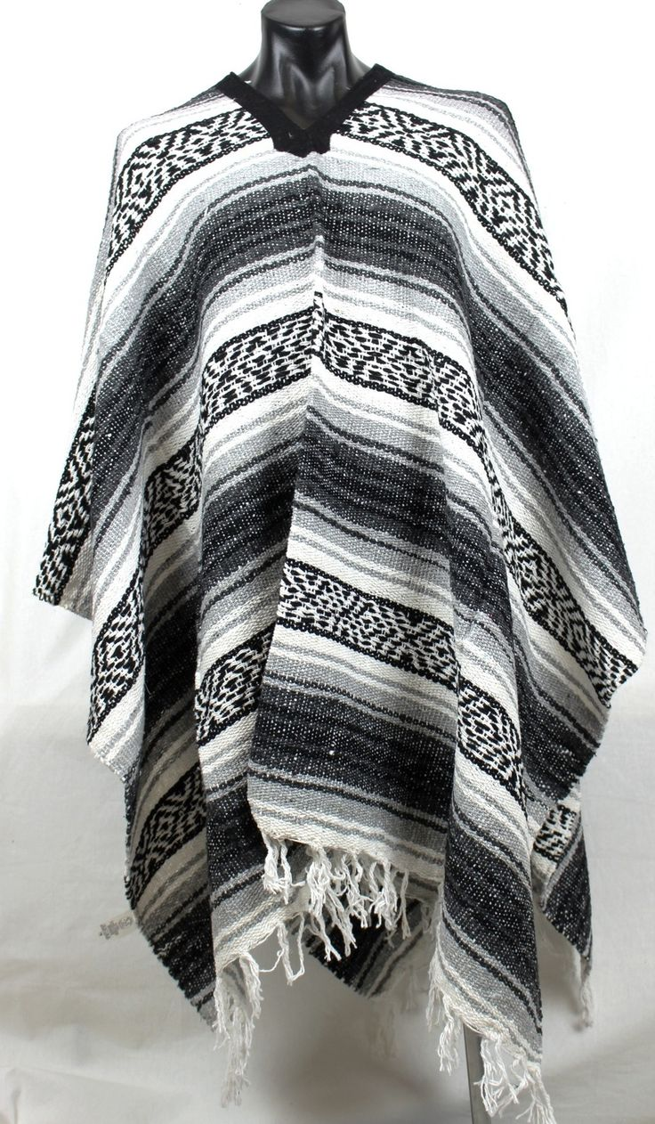 Mexican Poncho Western Grey - Colours of Mexico
