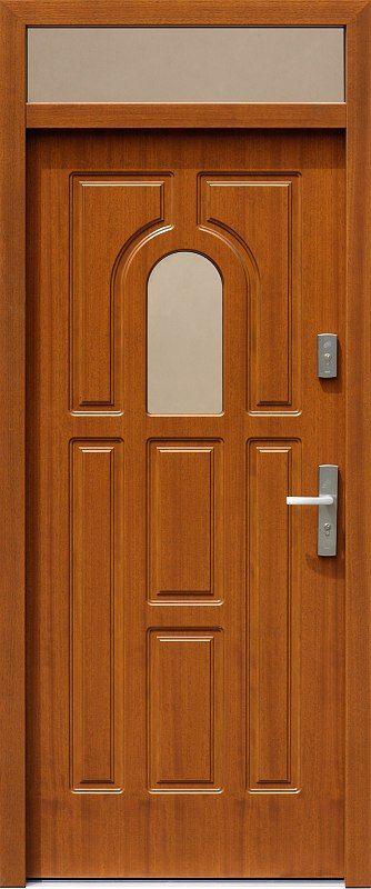 Drzwi z naświetlem górnym z szybą wzór 505s w kolorze złoty dąb.