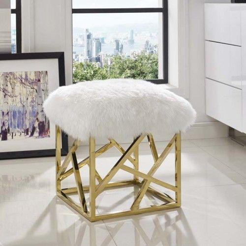 White Sheepskin Ottoman Footstool Gold Geometric Base