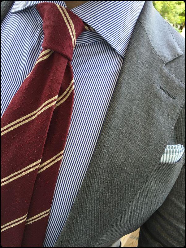 Necktie - Plaid in double blue broken by red & white stripes Notch GTIIPU