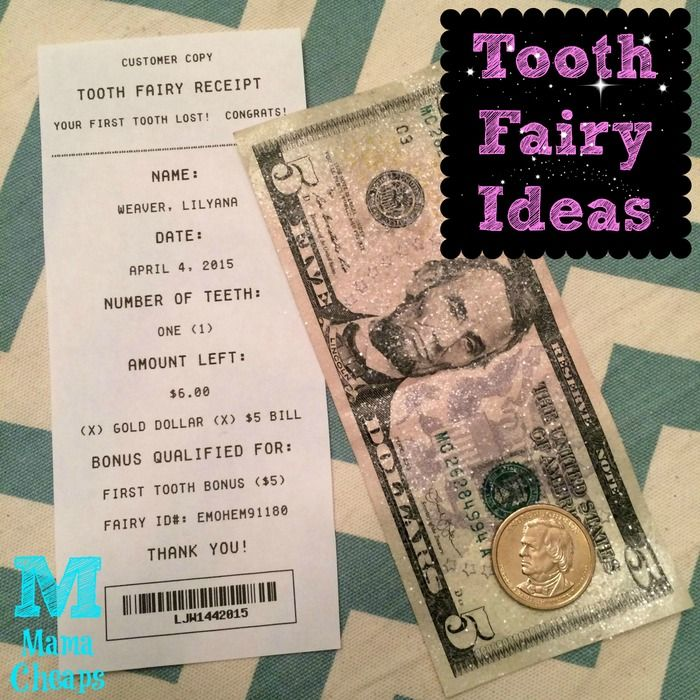 Gold Tooth Fairy Check Printable