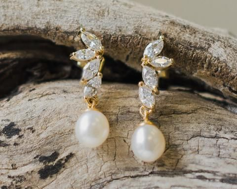 Teardrop Pearl Wedding Gold Earrings, Shelly