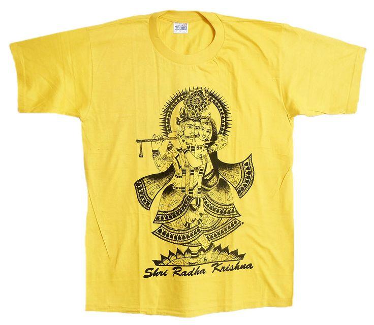Radha Krishna Print on Yellow T-Shirt (Cotton)