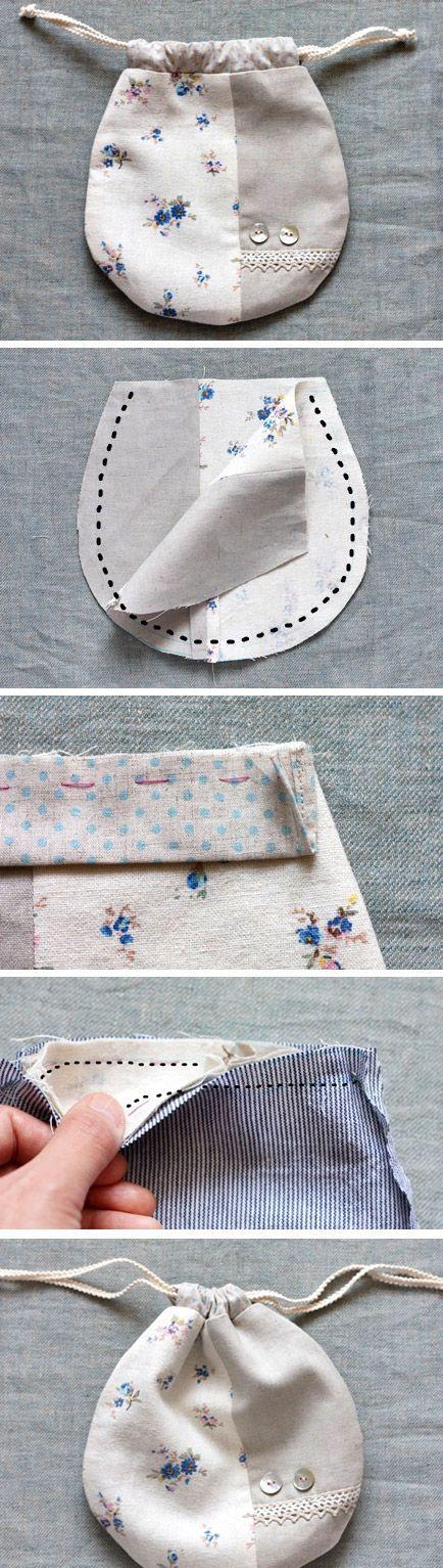 Lined Drawstring Bag Tutorial. How to Sew DIY Photo Tutorial www.handmadiya.co…..